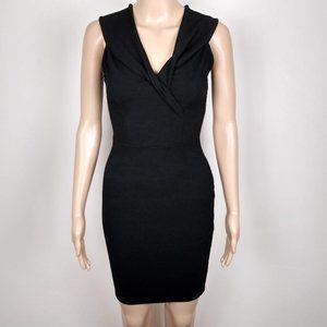 A+ Ellen Ribbed Black Twisted V-Neck Formal Dress